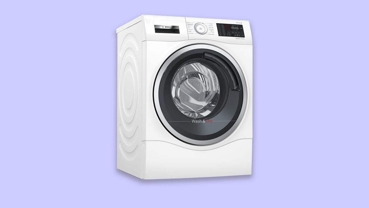 bosch all-in-one, washer dryer, review, recommended best buy. Save money and space. Clean laundry. UK