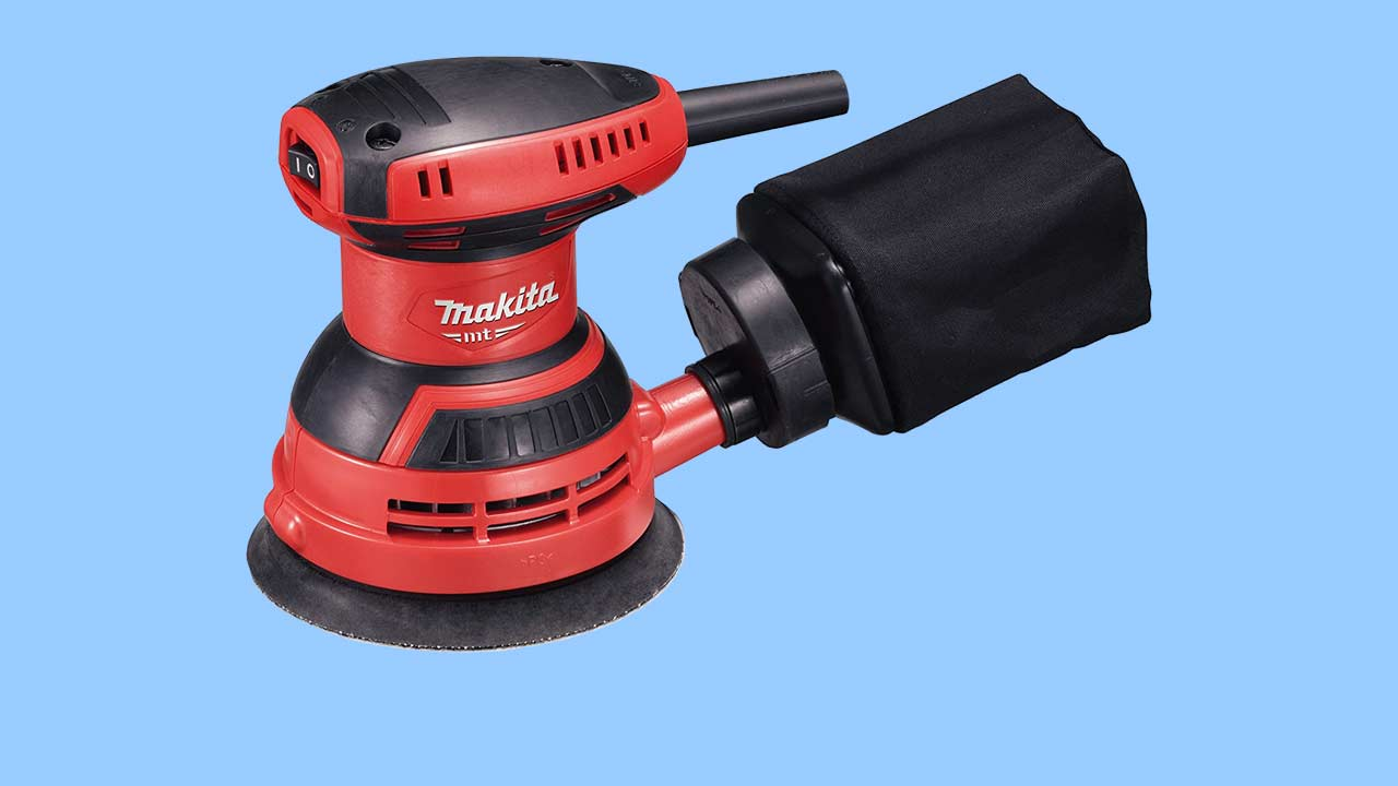 Red Makita random orbital sander professional sander for serious DIY & Trade. Budget power sander for DIY