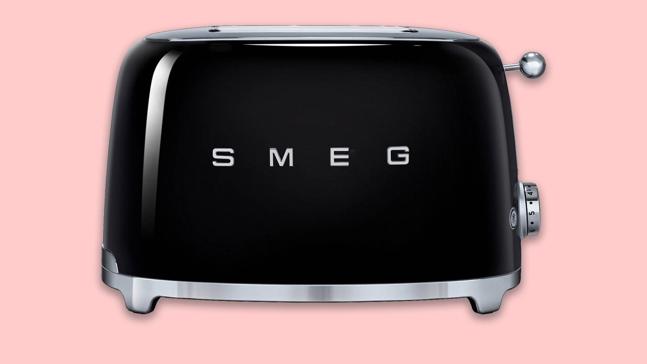 Black Smeg 2 slot retro toaster with vintage looks, available in ten colours UK