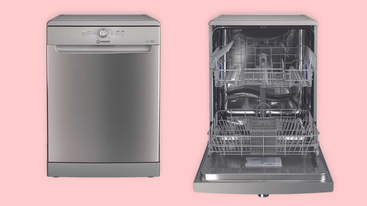 Best cheap freestanding dishwasher showing controls and racks with cutlery basket