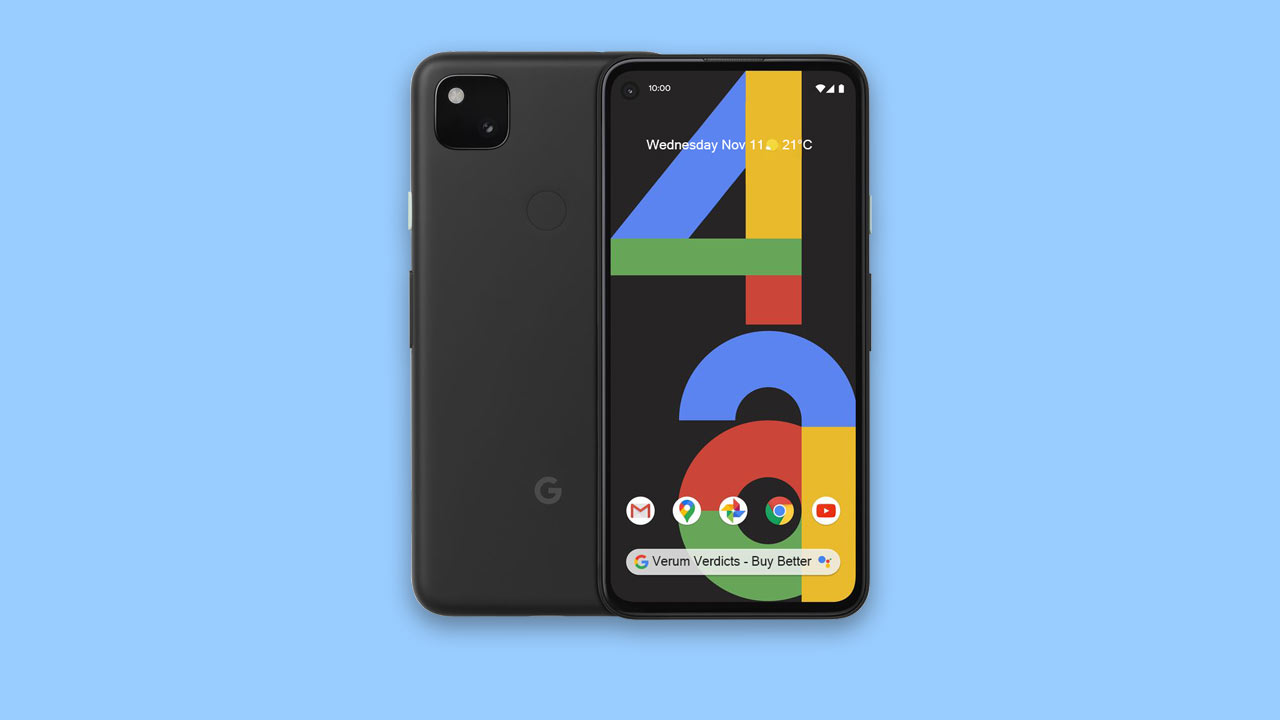 Google Pixel 4a front and back UK on blue background