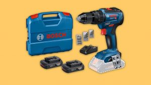 Professional Bosch combi-drill with 2 batteries, charger, case and bits. Complete drilling kit UK