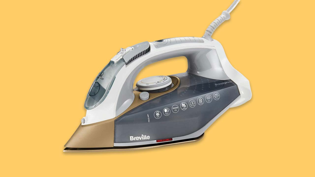 Breville VIN406 PressXpress Steam Iron 2600W Ceramic Soleplate, 400 ml Water Tank, 3m cable, White & Satin Gold