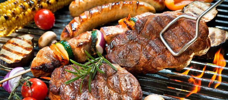 Tasty food cooked over charcoal for real bbq flavour. Steak kebab sausages vegetables