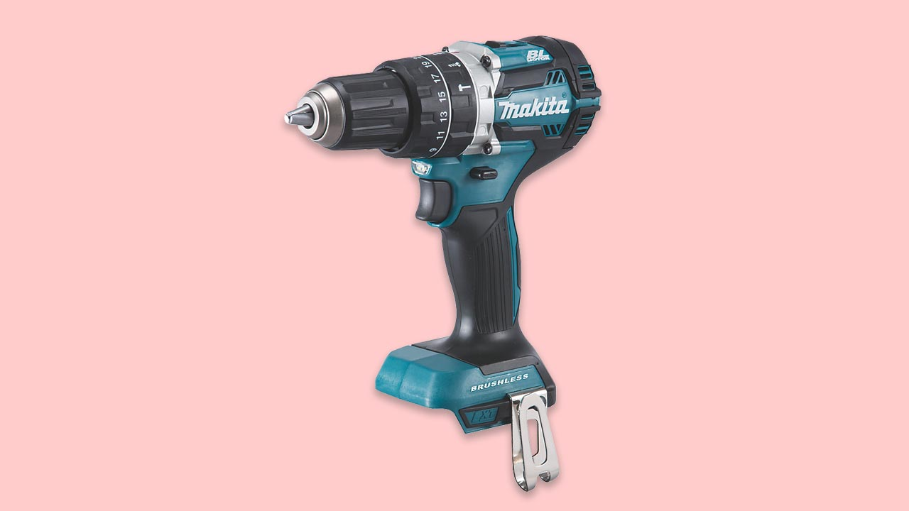 makita 18v cordless combi drill with brushless motor, 13mm chuck and variable speed trigger