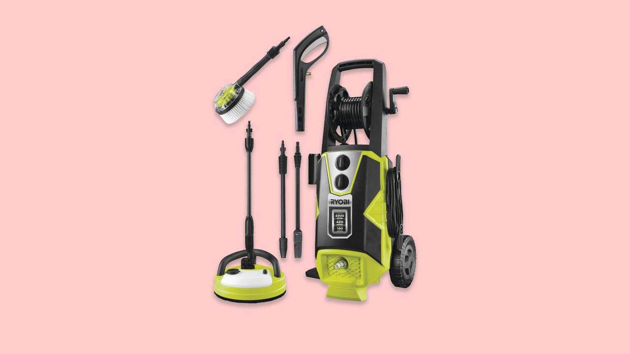 Ryobi RPW150XRB 2200w pressure washer with patio cleaner car brush lance and hose reel uk