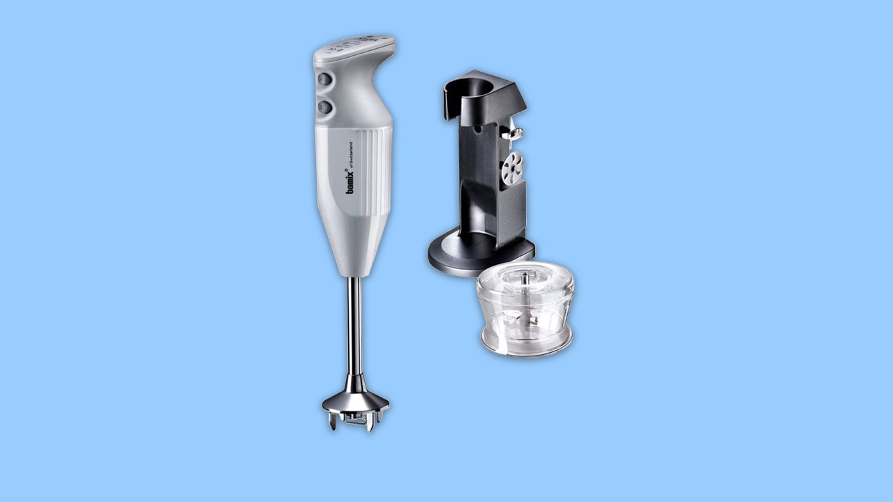 Bamix hand blender with stand and grinder. Blades and shaft in stainless steel.