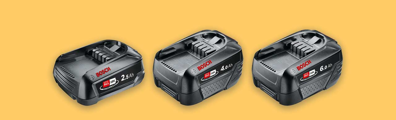Bosch 18v power tool batteries compared size capacity weight and cost uk