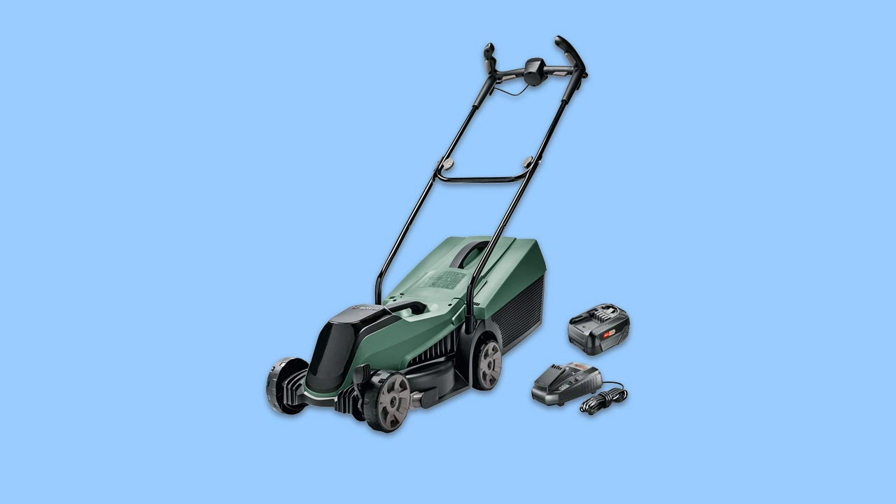best bosch cordless lawn mower for small gardens complete with battery and charger uk