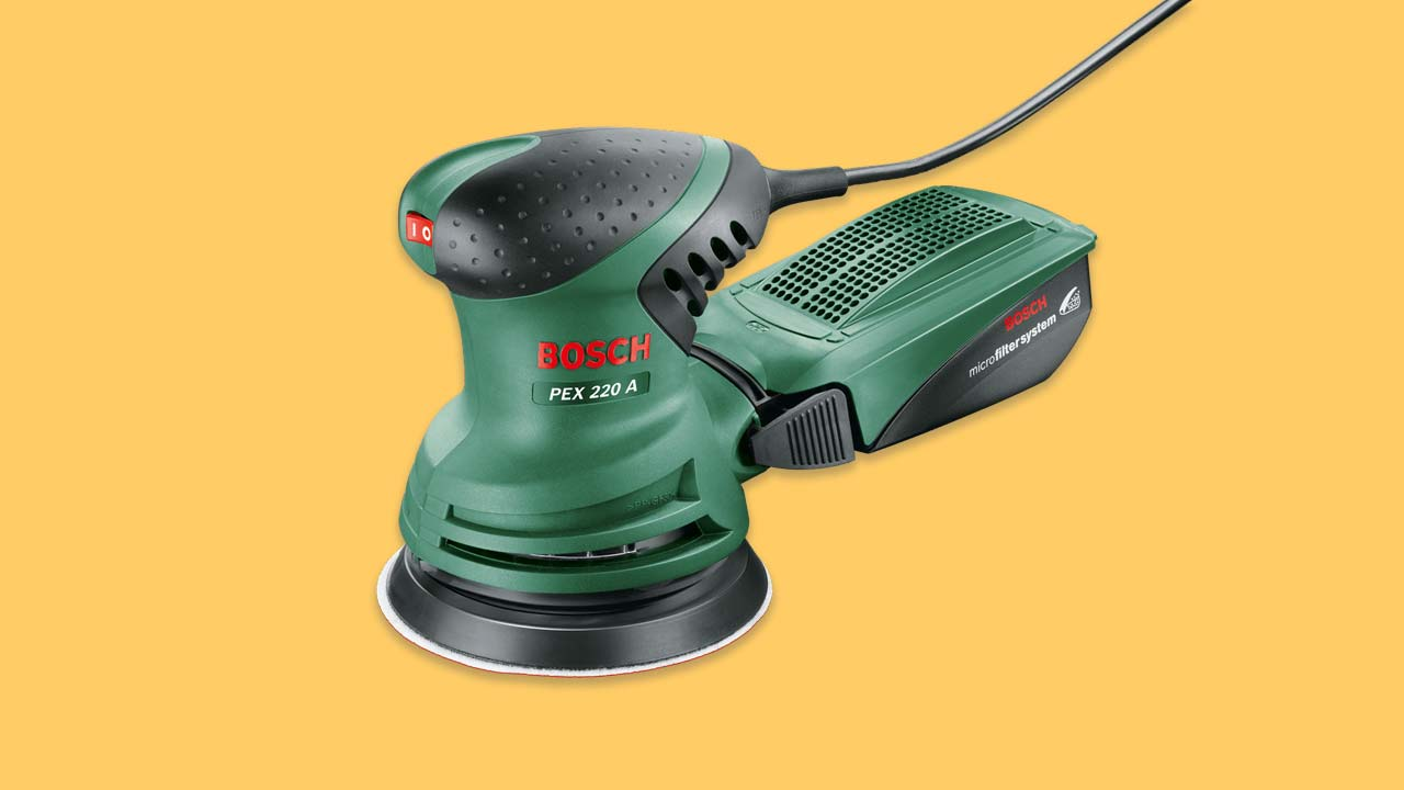 bosch pex 220 a random orbital sander corded budget buy with dust box and padded top to reduce vibration