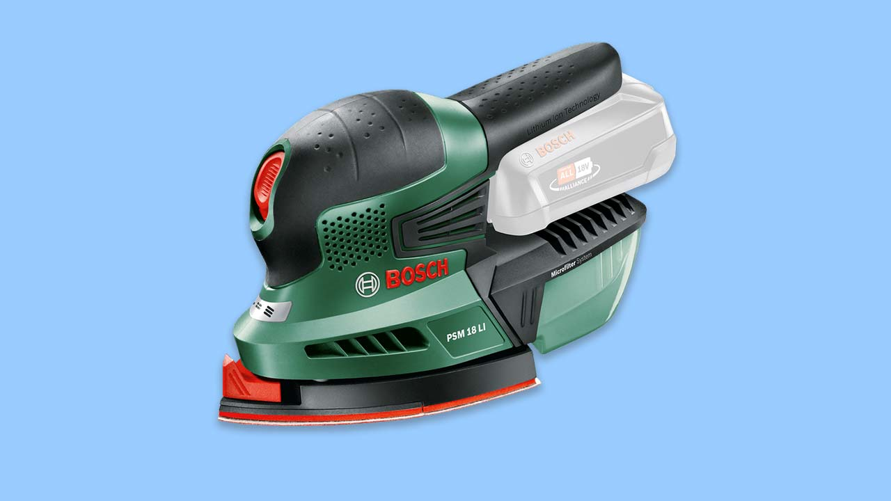 bosch cordless detail sander with dust compartment soft top and two part sanding plate