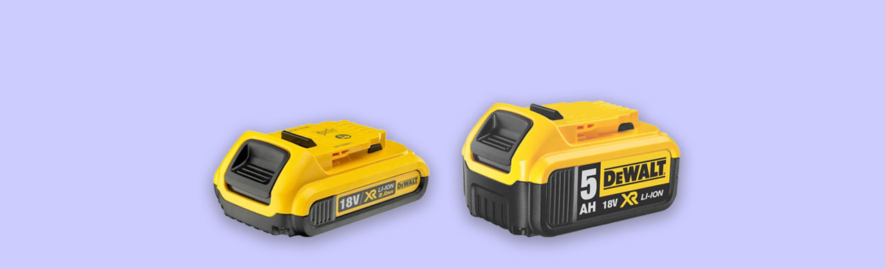 Dewalt 18v power tool batteries compared size capacity weight and cost uk
