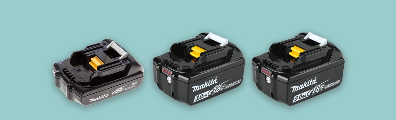 Makita 18v power tool batteries compared size capacity weight and cost uk