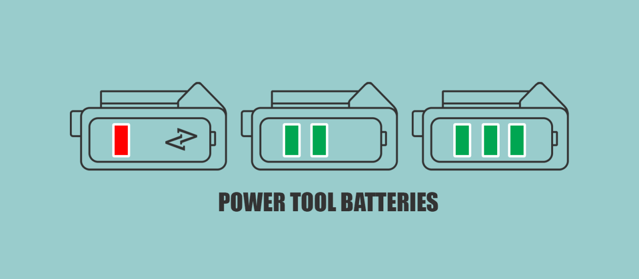 Cordless Power tool batteries small medium large compared uk