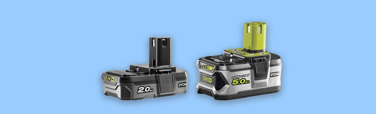 Ryobi 18v power tool batteries compared size capacity weight and cost uk