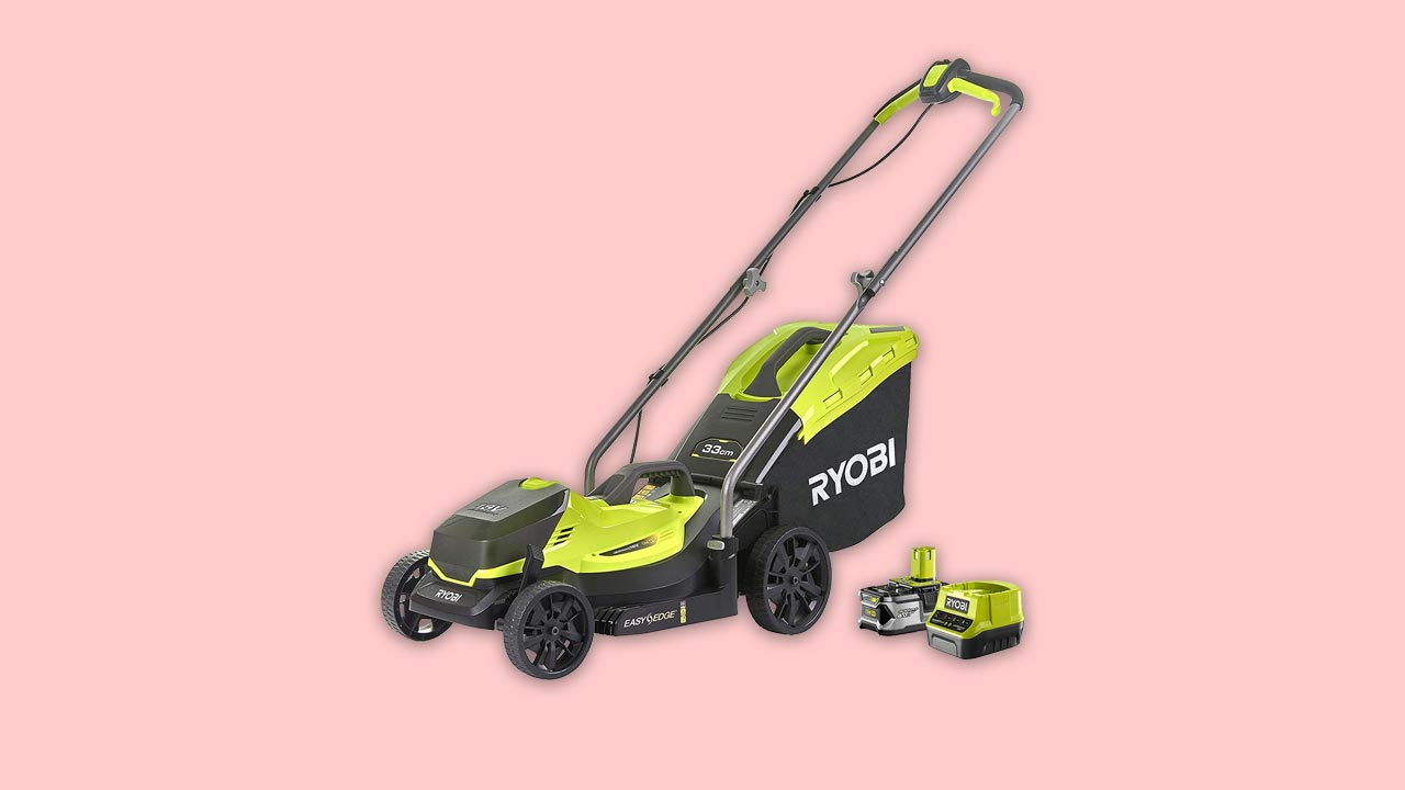best buy Ryobi OLM1833B Cordless 33cm Lawnmower with battery and charger. Review and recommendation for small gardens in the UK