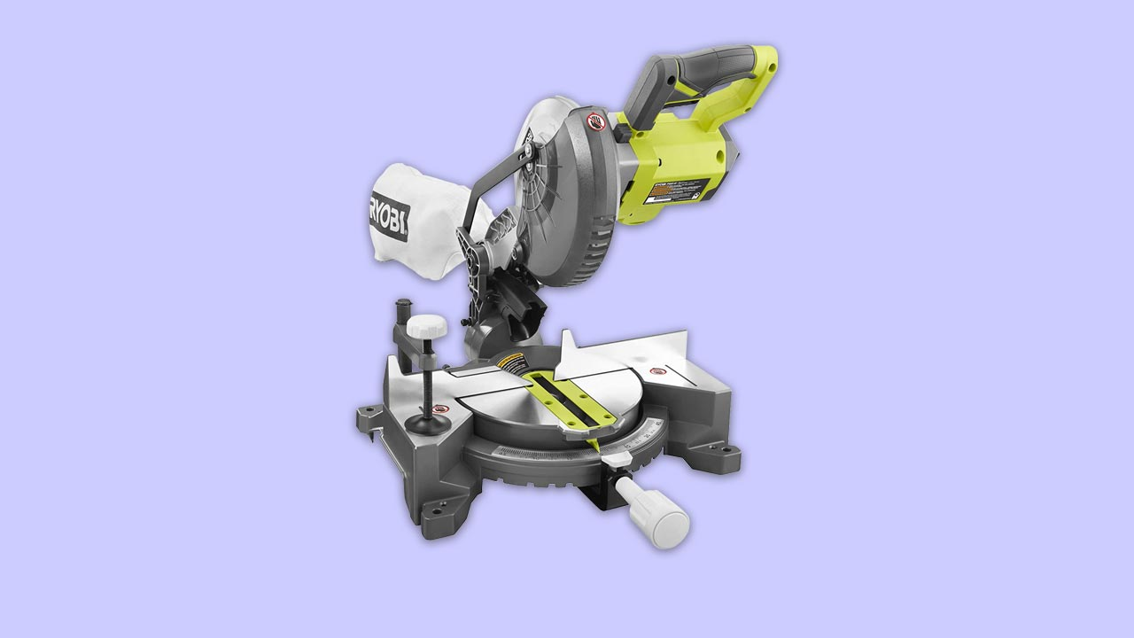 Ryobi cordless 18v mitre saw EMS190DC recommended for cross mitre bevel and compound cuts. With dust bag but without battery. UK model