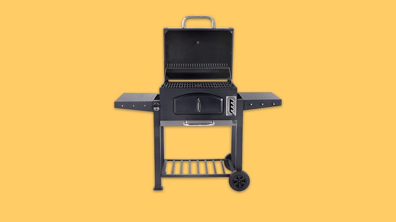 large rectangular charcoal bbq with variable height rack shelves warmer lid ash tray thermometer and bottle opener