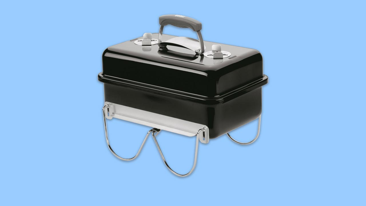 best portable bbq compact design with locking stand air vents and handle with heat shield